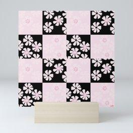 Black pink spring floral check pattern Mini Art Print