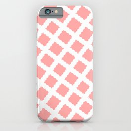Coral Pink & White Diagonal Grid Pattern - Black & Pink - Mix & Match with Simplicity of Life iPhone Case