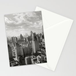 East River Waterfront, Empire State and Manhattan NYC Skyline black and white photograph Stationery Cards