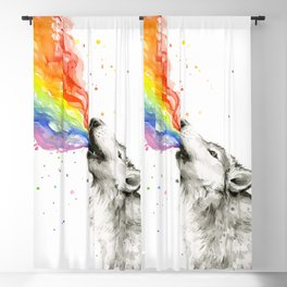 Wolf Howling Rainbow Watercolor Blackout Curtain