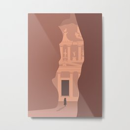 Siq Entrance to the Treasury, Petra, Jordan Metal Print