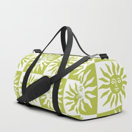 Mid Century Modern Sun Pattern Chartreuse Duffle Bag