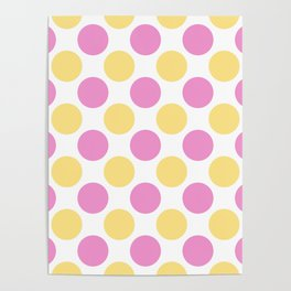 Yellow and pink polka dots Poster