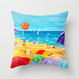 Parasol Parade - Happy Day on the Beach Throw Pillow