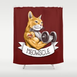 Meowscle Shower Curtain