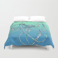 drunk Duvet Covers featuring Drunk Octopus by TAOJB
