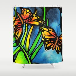 Beautiful Monarch Butterflies Fluttering Over Palm Fronds by annmariescreations Shower Curtain
