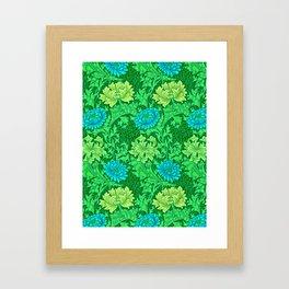 William Morris Chrysanthemums, Lime Green & Aqua Framed Art Print