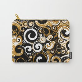 Gold, White and Black Lava Swirls 2 Carry-All Pouch