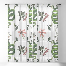 Plants & Snakes - Green Sheer Curtain