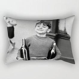 Little Boy and Bottles of Wine, Black and White Vintage Art Rectangular Pillow