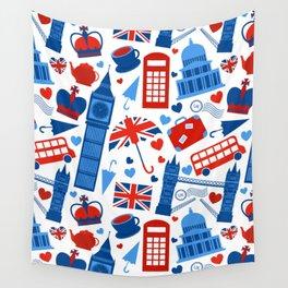 Fondo de patrón sin fisuras con hitos de Londres y símbolos de Gran Bretaña ilustración vectoria Wall Tapestry