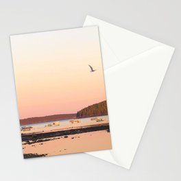 Pink Sunset Over the Harbor Stationery Cards