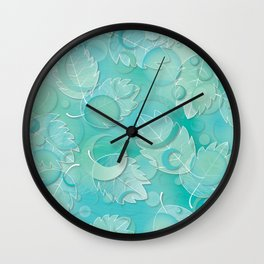 Floating Leaves Pattern IV - Winter, Ice Teal Wall Clock