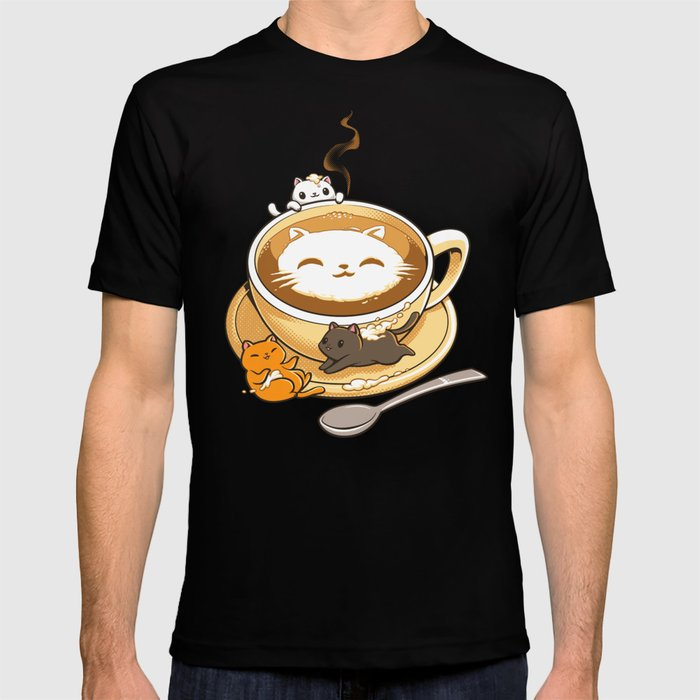 Latte Cat Graphic T-shirt by Tobe Fonseca - Black - MEDIUM - Mens Fitted Tee