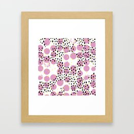 Dots and dashes pop rain colorful abstract design pink Framed Art Print