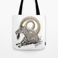 capricorn Tote Bags featuring Capricorn by Dennis Wilder