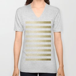 Simply Striped Gilded Palace Gold Unisex V-Neck