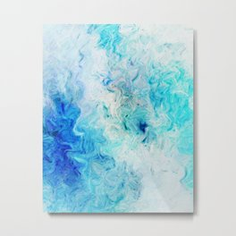 Fluid Colors (Blue/White) Metal Print