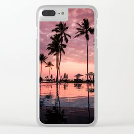 Serene Coconut Trees On Poolside Clear iPhone Case