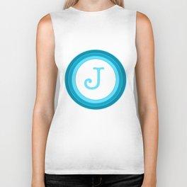 Blue letter J Biker Tank