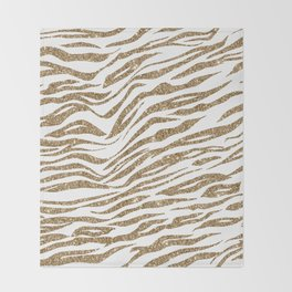 White & Glitter Animal Print Pattern Throw Blanket