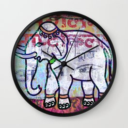 Pink elephant, colourful exotic Indian animal print Wall Clock