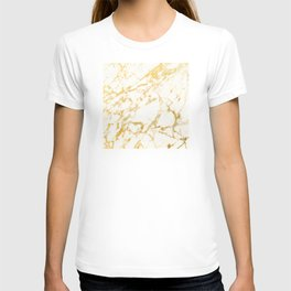 Ivory White Marble With Gold Glitter Ribboned Veins T-shirt
