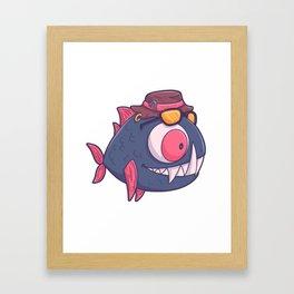 Fishing piranha fish funny gift Framed Art Print