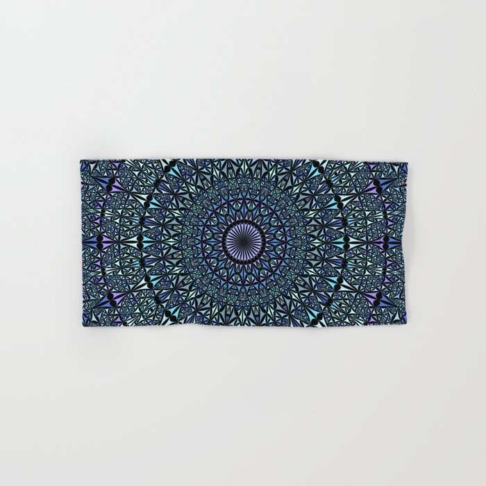 Blue Sacred Kaleidoscope Mandala Hand & Bath Towel