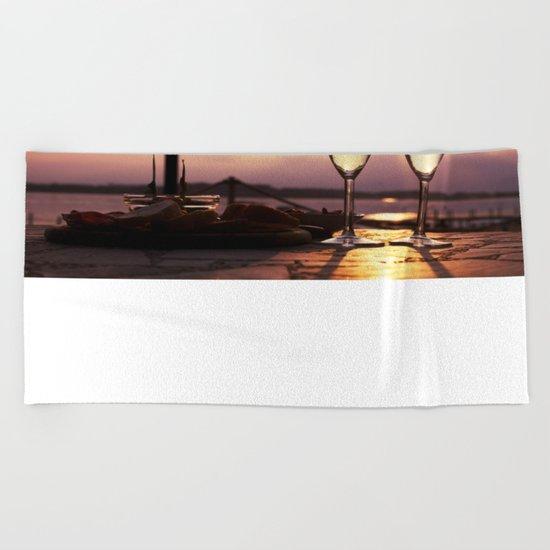 Champagne Date Beach Towel