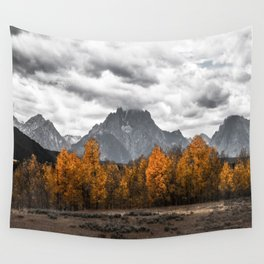 Teton Fall - Autumn Colors and Grand Tetons in Black and White Wall Tapestry