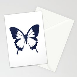 Navy and White Butterfly Stationery Cards