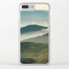 Pretty foggy morning in Toscany Clear iPhone Case