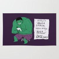 hulk Area & Throw Rugs featuring Hulk to do list. by Louis Roskosch