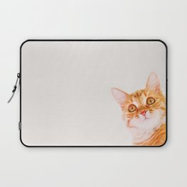 Cute ginger curious cat Laptop Sleeve