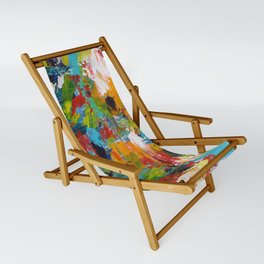 """The Abstract Mediterranean"" Acrylic Painting by Noora Elkoussy Sling Chair"
