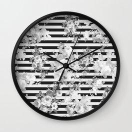 Elegant black white vintage floral modern stripes Wall Clock