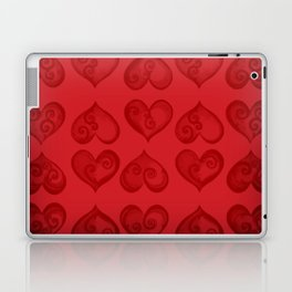 'Off With His Head Red Hearts Pattern' Wonderland styled design by Dark Decors Laptop & iPad Skin