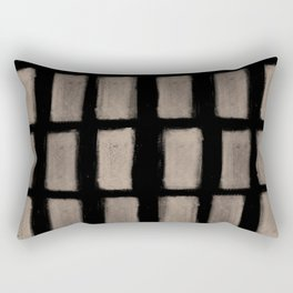 Brush Strokes Vertical Lines Nude on Black Rectangular Pillow
