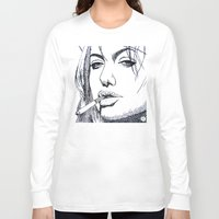 angelina jolie Long Sleeve T-shirts featuring Angelina Jolie by The Curly Whirl Girly.
