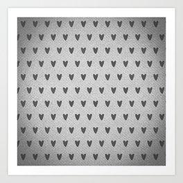 Grey Hearts Art Print