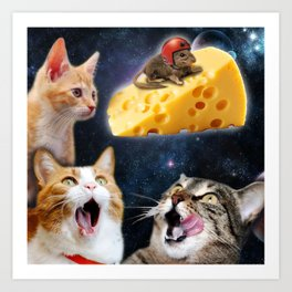 Cats and the mouse on the cheese Art Print