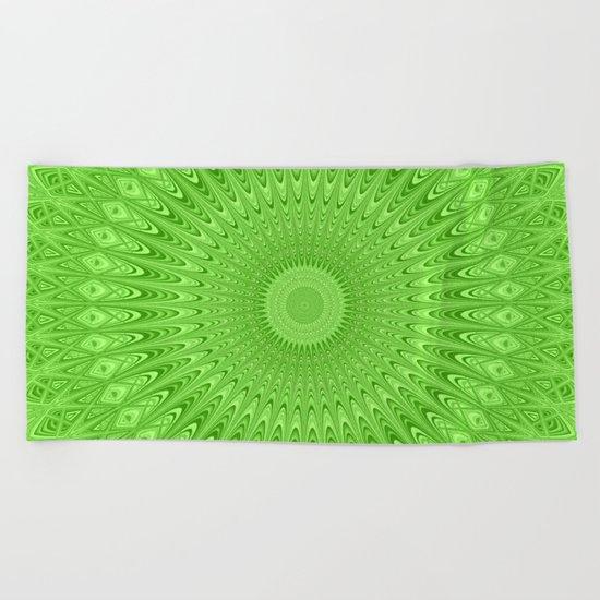 Green mandala Beach Towel