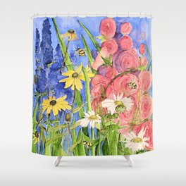 Cottage Garden Delphinium and Hollyhocks Watercolor Shower Curtain