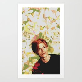 Bowie and Flowers 7 Art Print