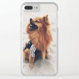 Beach Life Pomeranian Clear iPhone Case