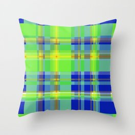 Striped 2X Blue and Green Throw Pillow