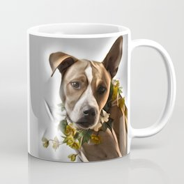 Pit Bull lover, a portrait of a beautiful  Pit Bull with a flower garland Coffee Mug