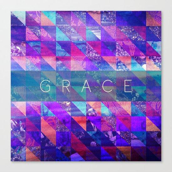 """2 Corinthians 12:9 """"Grace"""" (purple triangles) Canvas Print"""